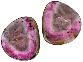 Watermelon Tourmaline Free Form Slice Matched Pair 15.00ctw