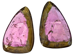 Watermelon Tourmaline Free Form Slice Matched Pair 30.00ctw