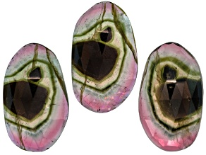 Watermelon Tourmaline Free Form Slice Matched Set 20.00ctw