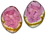 Watermelon Tourmaline Free Form Slice Matched Pair 10.00ctw