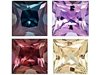 Picture of Multi-Color Sapphire 4.7mm Square Princess Cut Set 2.71ctw