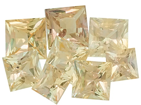 Yellow Sapphire Square Princess Cut Set 3.79ctw