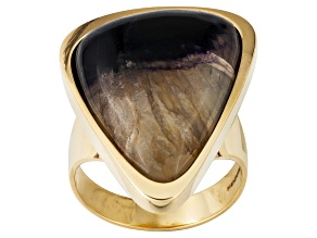 Blue John Fluorite And Mother Of Pearl Doublet 24.6x19.4mm Free Form 18k Yellow Gold Ring