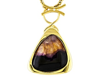 Picture of Blue John Fluorite And Mother Of Pearl Doublet 34.19x33.6mm Free Form 18k Yellow Gold Necklace