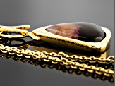 Blue John Fluorite And Mother Of Pearl Doublet 34.19x33.6mm Free Form 18k Yellow Gold Necklace