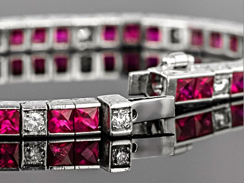 Ruby 18k White Gold Bracelet 8.10ctw 3x3mm Princess Cut With Diamond .71ctw Round.
