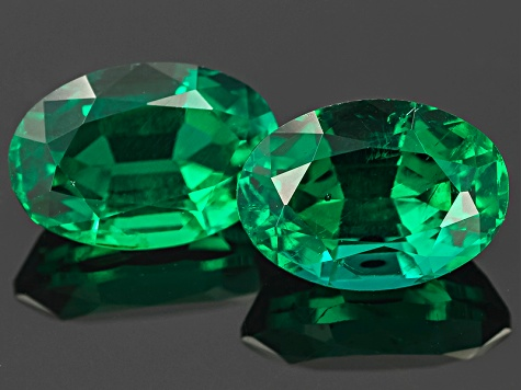 Emerald Oval Mixed Step Matched Pair 3.65ctw