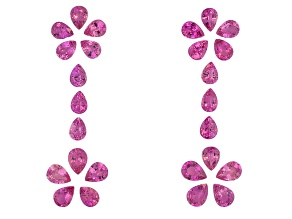 Pink Sapphire Untreated Pear Shape Set 24.26ctw