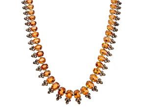 Garnet Spessartite Oval 127.69ctw With Brown Diamond Round 17.68ctw 18k White Gold Necklace