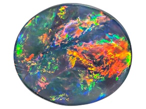 Black Opal 9x8mm Oval Cabochon 1.74ct