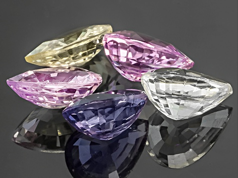 Multi-Color Sapphire Untreated Pear Shape Set 4.38ctw