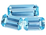 Aquamarine Untreated One 19.6x8.3mm And Two 13.1x17.8mm Emerald Cut Step Cut Set 15.25ctw