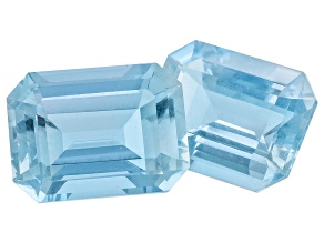 Aquamarine Untreated 12x9mm Emerald Cut Set 8.70ctw