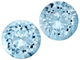 Aquamarine 12.42x12.33mm And 12.12x11.87mm Round Modified Portuguese Cut Matched Pair 11.27ctw