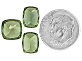Green Apatite One 9x9mm Square Cushion And Two 9x7mm Rectangular Cushion Set 8.18ctw