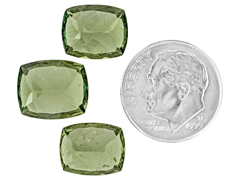 Green Apatite One 12x10mm And Two 11x9mm Rectangular Cushion Mixed Step Cut Set 15.94ctw