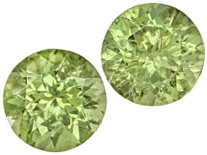 Green Apatite 9mm Round Brilliant Cut Matched Pair 5.67ctw