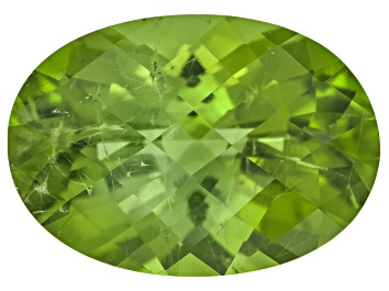 Picture of Peridot 13.82x10.88mm Oval Checkerboard Cut 5.98ct