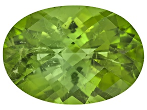 Peridot 13.82x10.88mm Oval Checkerboard Cut 5.98ct