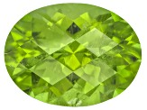Peridot 13.3x10.1mm Oval Checkerboard Cut 6.28ct