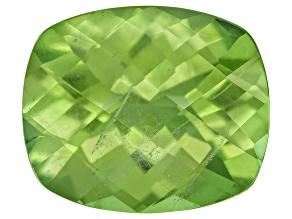 Peridot 12.5x10.5mm Rectangular Cushion Checkerboard Cut 6.05ct