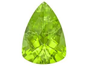 Peridot 14.3x10.2mm Pear Shape Checkerboard Cut 5.80ct