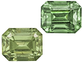 Garnet Demantoid 6.4x4.9m Emerald Cut Matched Pair 2.45ctw