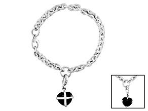 Whitby Jet 13x11mm Cross Heart Sterling Silver Charm Bracelet