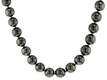 Picture of 14k yg 12-13.5mm cultured tahitian pearl/wht dia acc strand necklace