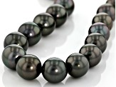 14k yg 12-13.5mm cultured tahitian pearl/wht dia acc strand necklace