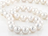 White Cultured Japanese Akoya pearl two tone  .03ctw white diamond strand necklace 10-10.5mm.