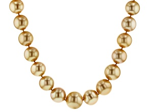 14k yg 13-17mm golden cult south sea pearl strand necklace