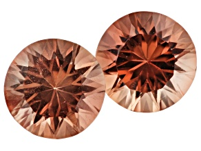Oregon Sunstone Matched Pair of 6mm Round Quantum Cut 1.50ctw