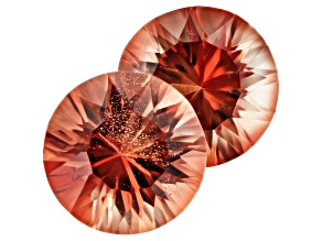 Oregon Sunstone Matched Pair of 8mm Round Quantum Cut 3.36ctw