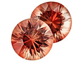 Oregon Sunstone Matched Pair of 8mm Round Quantum Cut 3.36ctw