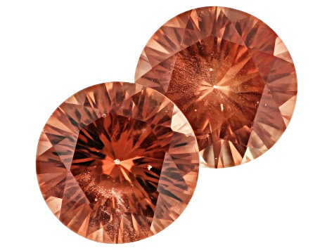 Oregon Sunstone Matched Pair of 8.5mm Round Quantum Cut 3.74ctw