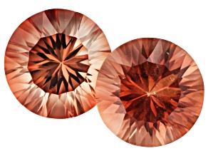 Oregon Sunstone Matched Pair of 9mm Round Quantum Cut 4.76ctw