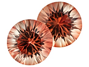 Oregon Sunstone Matched Pair of 9mm Round Quantum Cut 4.99ctw