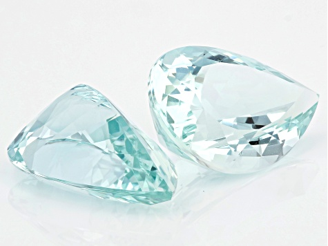 Aquamarine Matched Pair 21.8x14mm Pear Shape 26.46ctw