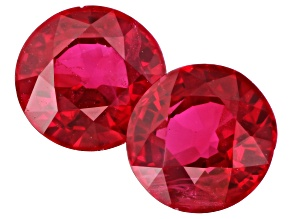 Ruby 5mm Round Matched Pair 1.28ctw