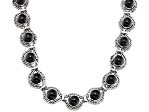 Whitby Jet 10mm Round Cabochon Sterling Silver Foxtail Chain Necklace