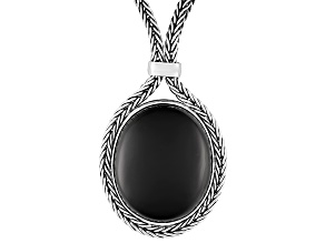 Whitby Jet 34x25mm Oval Cabochon Sterling Silver Foxtail Chain Necklace