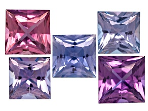 Multi-Color Sapphire Untreated Square Princess Cut Set 2.79ctw