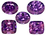 Purple Sapphire Untreated Oval And Rectangular Cushion Set 3.77ctw