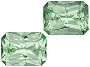 Green Tourmaline Untreated 6.5x4.8mm Rectangular Octagonal Radiant Cut Matched Pair 1.51ctw