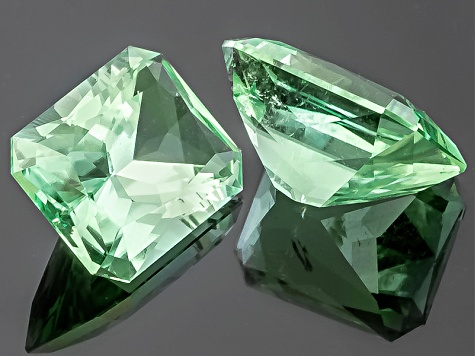Green Tourmaline Untreated 6.5x4.8mm Rectangular Octagonal Radiant Cut Matched Pair 1.51ctw