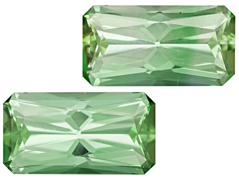 Green Tourmaline Untreated 9.5x5mm Rectangular Octagonal Radiant Cut Matched Pair 3.00ctw