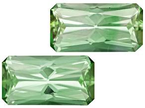 Green Tourmaline Untreated 9.5x5mm Rectangular Octagonal Radiant Cut Matched Pair 3.00ctw