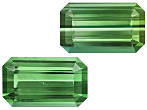 Green Tourmaline Untreated 10.3x6.1mm Emerald Cut Matched Pair 5.00ctw