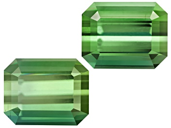 Picture of Green Tourmaline Untreated Emerald Cut Matched Pair 1.80ctw
